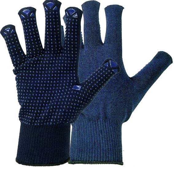 Strick-Handschuhe dunkelblau, genoppt